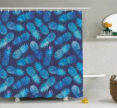 Mavi Ananas Desenli Duş Perdesi Sulu Boya Efektli