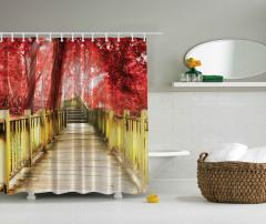 Orman Yolu Temalı Duş Perdesi Kırmızı Ağaç Doğa