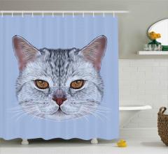 Sevimli Kedi Portresi Duş Perdesi Dekoratif Şık