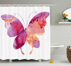 Mor Pembe Kelebek Desenli Duş Perdesi Dekoratif