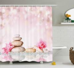 SPA Taşları ve Çiçek Duş Perdesi Pembe Trend Şık