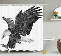 Uçan Kartal Desenli Duş Perdesi Siyah Beyaz Şık