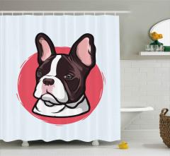 Uzun Kulaklı Sevimli Köpek Duş Perdesi Kahverengi