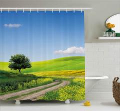 Sarı Çiçekli Kır Yolu Duş Perdesi Ağaç Gökyüzü Bulut