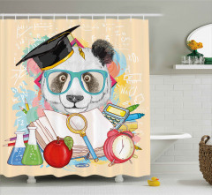 Öğrenci Panda Desenli Duş Perdesi Gözlüklü Sevimli