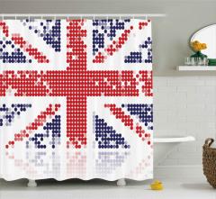 Birleşik Krallık Bayrağı Duş Perdesi Daireli Dizayn