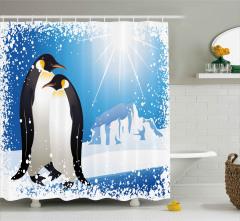 Penguenler ve Kar Taneleri Duş Perdesi Şık Tasarım