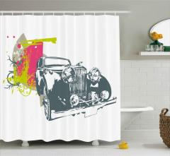 Antika Araba Desenli Duş Perdesi Beyaz Fonlu Şık