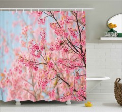Pembe Kiraz Çiçekleri Duş Perdesi Dekoratif Şık