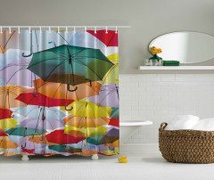 Rengarenk Şemsiyeler Temalı Duş Perdesi Şık Tasarım