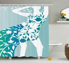 Çiçekli Elbiseli Kız Desenli Duş Perdesi Mavi Yeşil