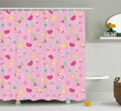 Şeker ve Karpuz Desenli Duş Perdesi Pembe Dekoratif