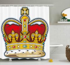 Hanedanlık Armaları Desenli Duş Perdesi Kral Tacı