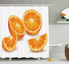 Portakal Dilimleri Desenli Duş Perdesi Dekoratif