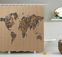 Mukavvadan Dünya Haritası Duş Perdesi Kahverengi