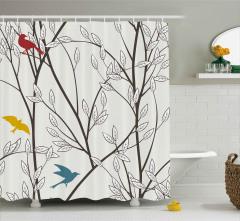 Daldaki Rengarenk Kuşlar Duş Perdesi Çeyizlik Şık