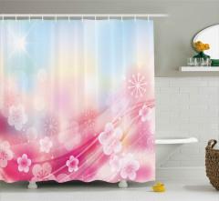 Pembe Çiçek Desenli Duş Perdesi Dekoratif Trend