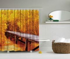 Sarı Orman ve Köprü Temalı Duş Perdesi Şık Tasarım