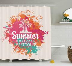 Palmiyeli Yaz Desenli Duş Perdesi Dekoratif Şık