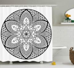 Siyah Beyaz Mandala Desenli Duş Perdesi Dekoratif