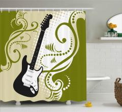 Dekoratif Gitar Desenli Duş Perdesi Şık Tasarım