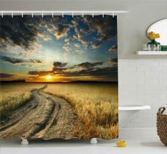 Buğday Tarlasında Gün Batımı Duş Perdesi Gökyüzü