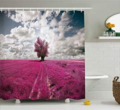 Mor Çiçek Tarlası Duş Perdesi Ağaç Gökyüzü Bulut