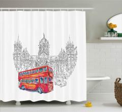 Kırmızı Otobüsle Seyahat Duş Perdesi Hindistan Şık