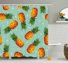 Üçgenli Ananas Desenli Duş Perdesi Şık Tasarım