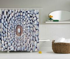 Çakıl Taşları Desenli Duş Perdesi Gri Şık Tasarım