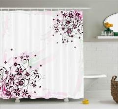 Sulu Boya Zarif Çiçekler Duş Perdesi Pembe Çeyizlik