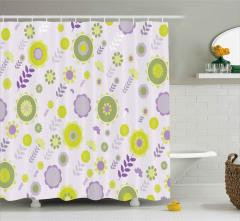 Şık Çiçekler ve Yaprakları Duş Perdesi Mor Yeşil