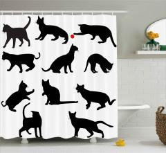 Kedi Silüetleri Desenli Duş Perdesi Siyah Beyaz