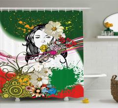 Çiçekli Güzel Kız Desenli Duş Perdesi Dekoratif
