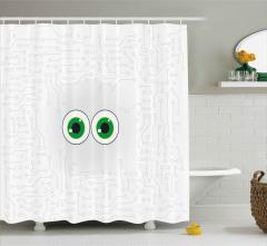 Bilgisayarın Gözleri Duş Perdesi Siyah Beyaz Yeşil