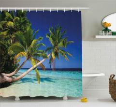 Cennet Plajı ve Palmiyeler Duş Perdesi Mavi Gökyüzü