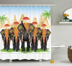 Şemsiyeli Fil Desenli Duş Perdesi Hint Etkili Şık