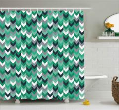Geometrik Oklu Desen Duş Perdesi Yeşil Gri Beyaz