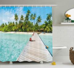 Palmiyeler ve Turkuaz Deniz Duş Perdesi Tropikal