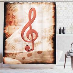 Nota Desenli Duş Perdesi Bej Kahverengi Şık Tasarım