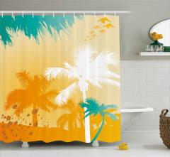 Sarı Beyaz Turkuaz Palmiyeler Duş Perdesi Dekoratif