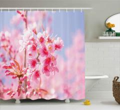 Pembe Çiçek Cümbüşü Duş Perdesi Kır ve Bahar