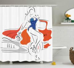 Puantiyeli Mayolu Kız Duş Perdesi Klasik Araba