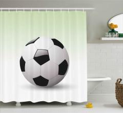 3D Etkili Futbol Topu Duş Perdesi Beyaz Arka Plan