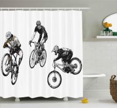 Akrobat Bisikletçiler Desenli Duş Perdesi Kara Kalem