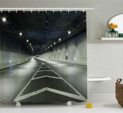 Kıvrımlı Tünelde Yolculuk Duş Perdesi Dekoratif