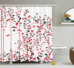 Sarmaşıklar ve Daireler Duş Perdesi Dekoratif