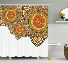 Rengarenk Üç Mandala Duş Perdesi Dekoratif