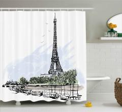 Eyfel Kulesi ve Tekneler Duş Perdesi Paris