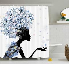 Saçlarında Çiçek Açan Kız Duş Perdesi Dekoratif